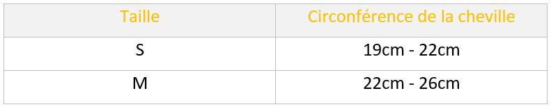 tableau de mesure des tailles de la circonférence de la cheville