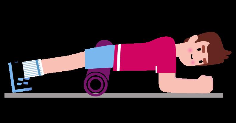 L étirement des muscles quadriceps à l aide d un rouleau de massage